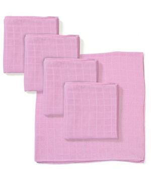 Babyhug Square Muslin Nappy Set Medium Pack Of 5 - Pink
