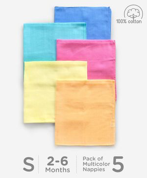 Babyhug Square Muslin Nappy Set Small Pack Of 5 - Multicolor