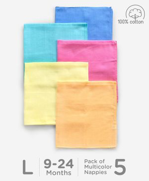 Babyhug Square Muslin Nappy Set Large Pack Of 5 - Multicolor