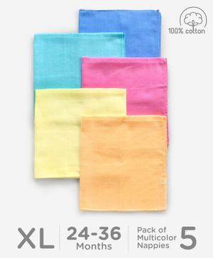 Babyhug Square Muslin Nappy Set Extra Large Pack Of 5 - Multicolor