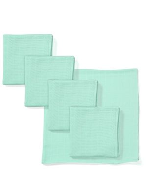 Babyhug Square Muslin Nappy Set Medium Pack Of 5 - Aqua