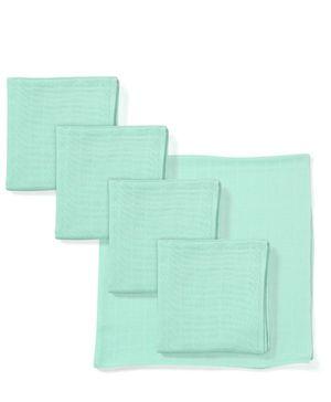 Babyhug Square Muslin Nappy Set Extra Large Pack Of 5 - Aqua