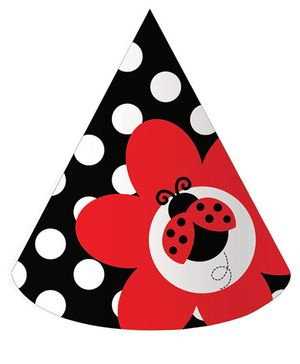 Ladybug Fancy Party Hats - Black & Red
