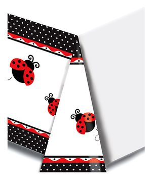 Ladybug Fancy Table Cover - Black & Red