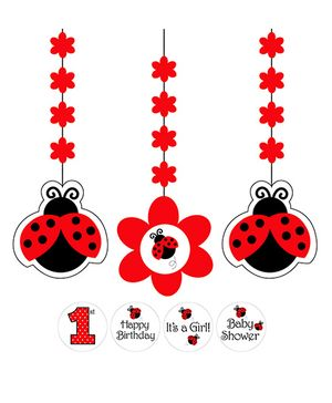 Ladybug Fancy Hanging Cutouts - Black & Red