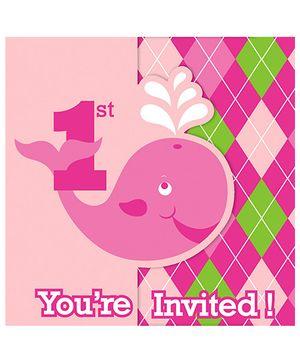 Ocean Preppy Girl Invitations - Pink