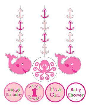Ocean Preppy Girl Hanging Cutout - Pink