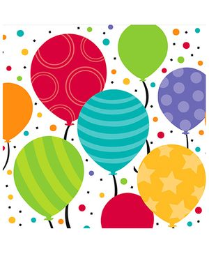 Shimmering Balloon Napkins - White