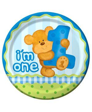 Bear's 1st Birthday Plates - Blue