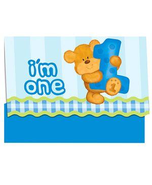 Bear's 1st Birthday Invitations - Blue