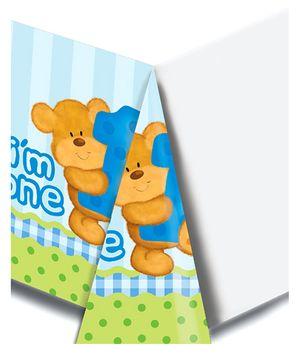 Bear's 1st Birthday Table Cover - Blue