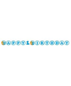 Bear's 1st Birthday Ribbon Banner - Blue
