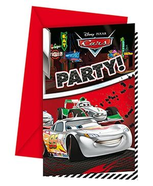 Disney Pixar Cars Silver Edition Invitations And Envelopes - Red