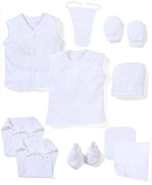 Babyhug Clothing Gift Set Pack Of 10 - White