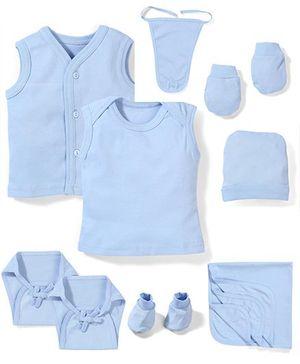 Babyhug Clothing Gift Set Pack Of 10 - Blue