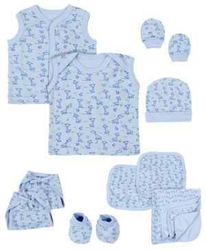 Babyhug Gift Set Giraffe Print Sky Blue - 10 Pieces
