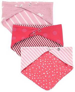 Ben Benny Printed Cross Bib Set Of 3 - Red Baby Pink Pink