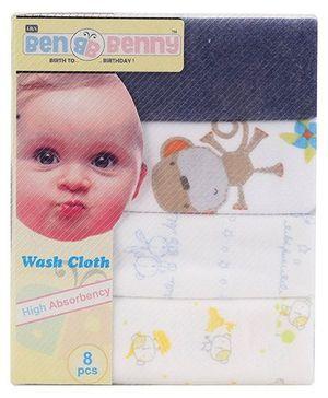 Ben Benny Multi Animal Printed Napkins Pack Of 8 - Multi Color