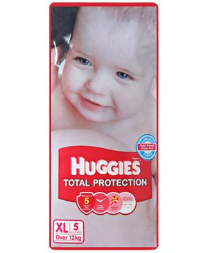 Huggies Total Protection Taped Diapers Extra Large Size - 5 Pieces