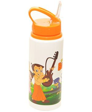 Chhota Bheem Sipper Water Bottle Orange and White - 600 ml
