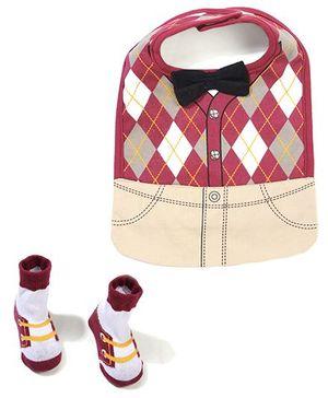 Baby Starters Bib & Socks - Maroon & Brown