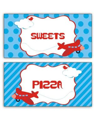 Prettyurparty Airlines Food Labels- Blue