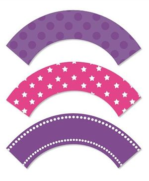 Prettyurparty Ballerina Cupcake Wrappers- Pink and Purple
