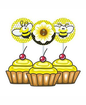 Prettyurparty Bumble Bee Cupcake Food Toppers- Black and Yellow
