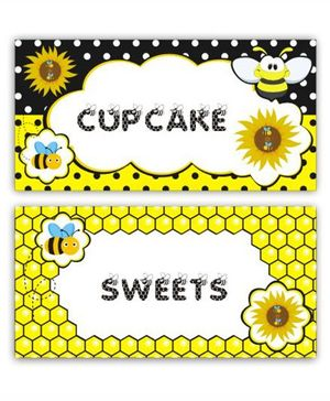 Prettyurparty Bumble Bee Food Labels- Black and Yellow