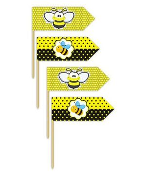 Prettyurparty Bumble Bee Toothpicks- Black and Yellow