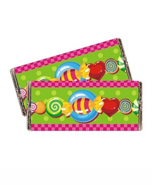 Prettyurparty Candy Shoppe Chocolate Wrappers- Green and Pink