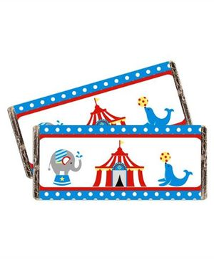 Prettyurparty Carnival Chocolate Wrappers- Blue and Red