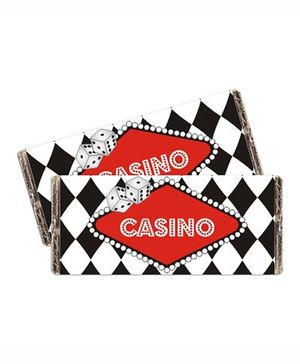 Prettyurparty Casino Chocolate Wrappers- Black and Red
