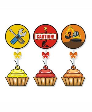 Prettyurparty Construction Cupcake Food Toppers- Multi Color