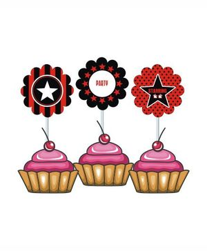 Prettyurparty Hollywood Cupcake Food Toppers- Multi color