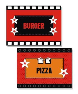 Prettyurparty Hollywood Food Labels- Black and Red
