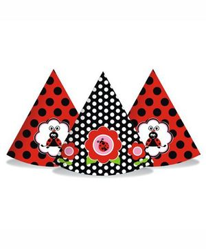 Prettyurparty Lady Bug Hats- Black and Red