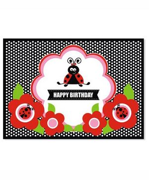 Prettyurparty Lady Bug Table Mats- Black and Red