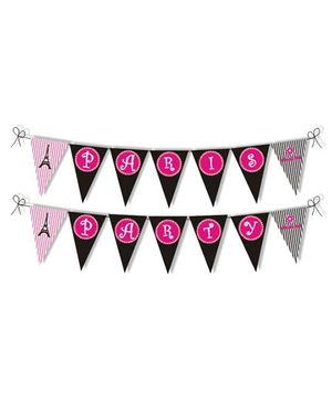 Prettyurparty Paris Bunting- Black and Pink