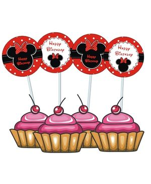 Prettyurparty Minnie Mouse Cupcake Food Toppers- Black and Red