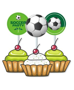 Prettyurparty Football Cupcake Toppers- Green