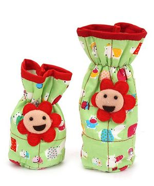 1st Step Feeding Bottle Cover Floral Applique Set of 2 - Green And Red