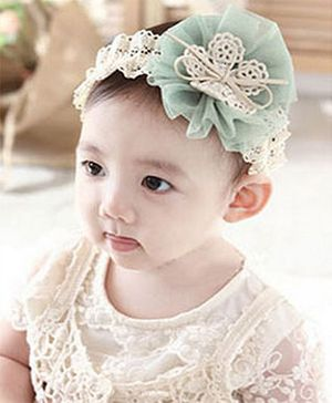 Akinos Kids Chiffon Flower Headband - Green