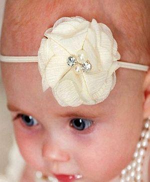 D'chica Chiffon Flower Headband - Cream