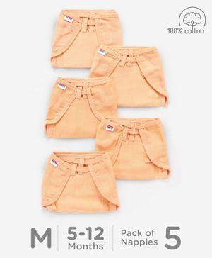 Babyhug U Shape Muslin Nappy Set Lace Medium Pack Of 5 - Peach
