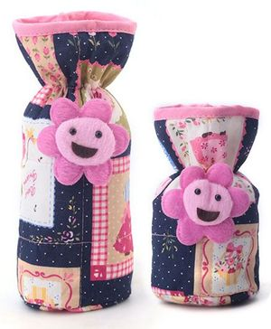 1st Step Bottle Cover Pack of 2 Multi Print - Blue and Pink