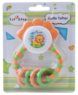 1st Step Rattle Teether - Green and Cream