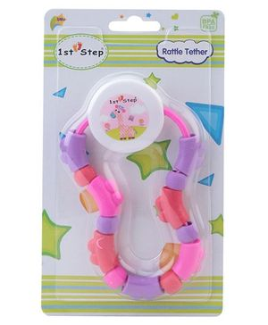 1st Step Rattle Teether - Pink Red and Violet