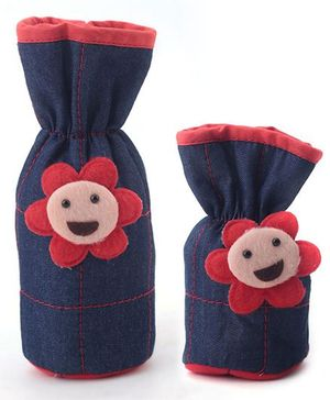 1st Step Denim Bottle Cover Pack of 2 - Blue and Red
