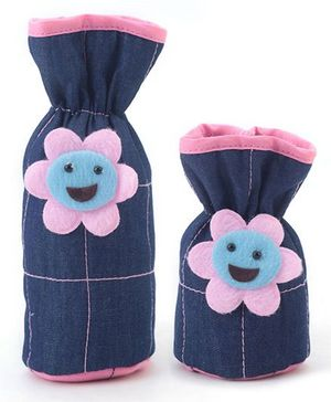 1st Step Denim Bottle Cover Pack of 2 - Blue and Pink